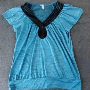 Blue flowy dress shirt